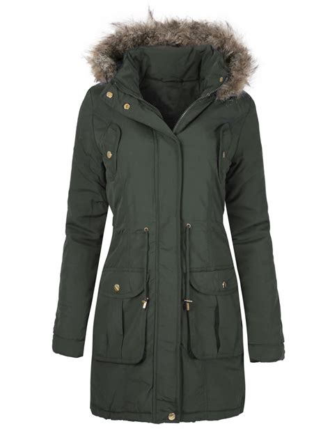 Quilted Plus Size Coats by Womens Winter Faux Fur Hooded Parka Quilted Jacket