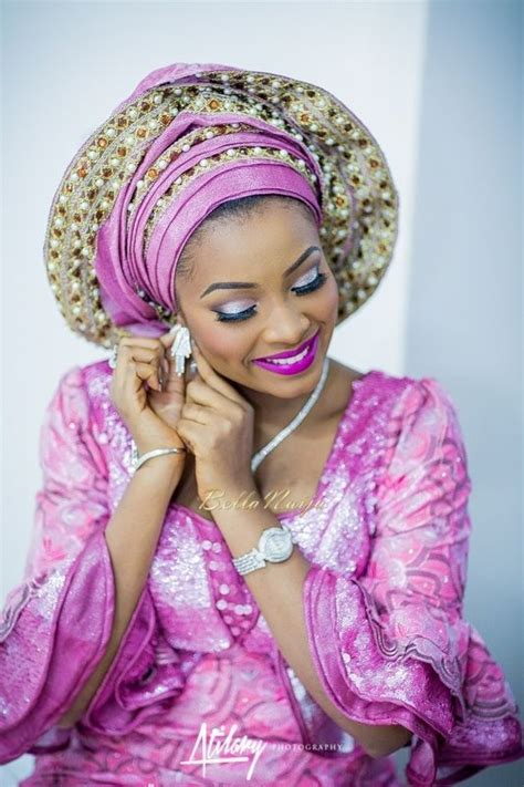 aso okebella styles bellanaija bride safiya in pink aso oke by bimmms alaso