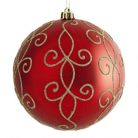 large red swirl shatterproof ornament christmas tree