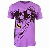 Mens Batman Neon T Shirt Purple