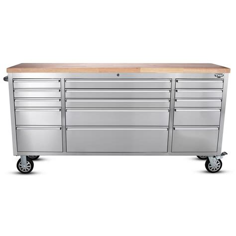 stainless steel work bench top husky 39 in 5 drawer mobile workbench in stainless steel