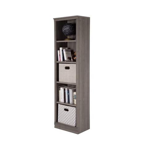 south shore hopedale narrow 6 shelf bookcase south shore morgan 5 shelf narrow bookcase in gray maple