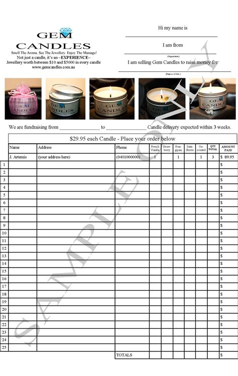 candle order form template search results for fundraiser order form template