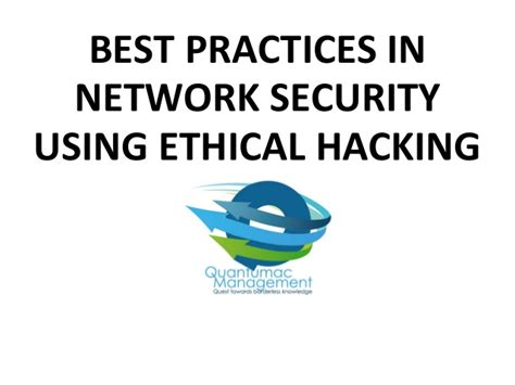material best practices in network security using ethical