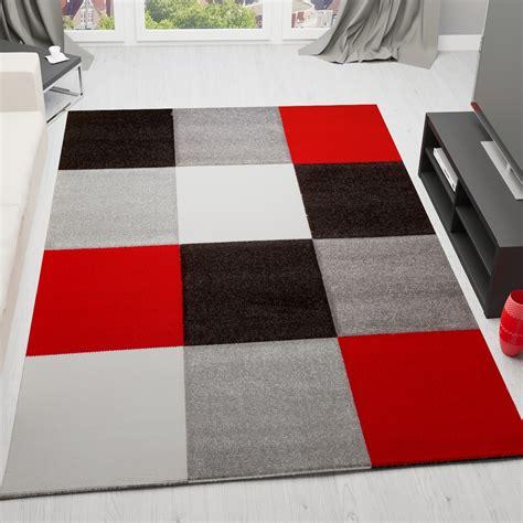 teppich rot schwarz moderner designer frisee teppich kariert handgeschnittene