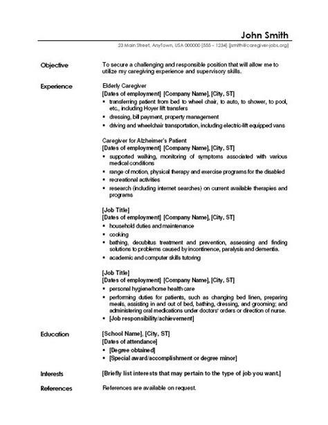 caregiver professional resume templates free sle