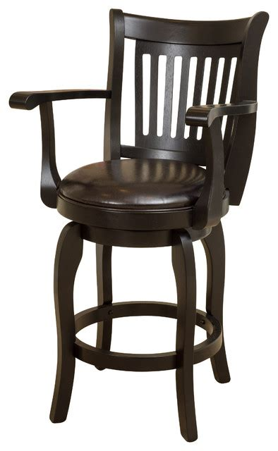 Armed Bar Stools by Brook Armed Espresso Leather Swivel Counter Stool