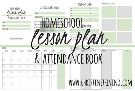 homeschool lesson planner and gradebook free lesson plan attendance book christine trevino