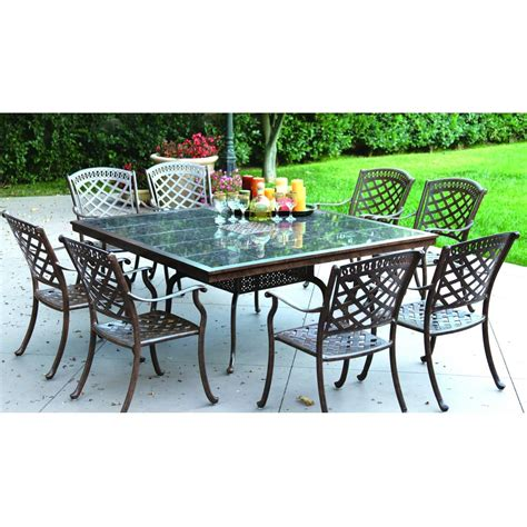 Square Patio Tables 8 Person Square Patio Table Carrolton 8 Person Cast Aluminum Patio Dining Set With Carrolton 8