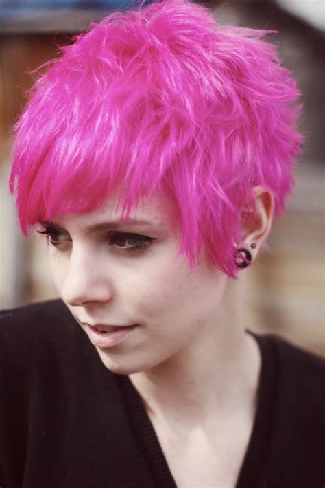 shaggy pixie thick shaggy long pixie cut bright pink with a bed head