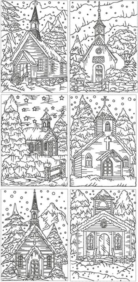 advanced landscape coloring pages advanced embroidery designs redwork christmas church set