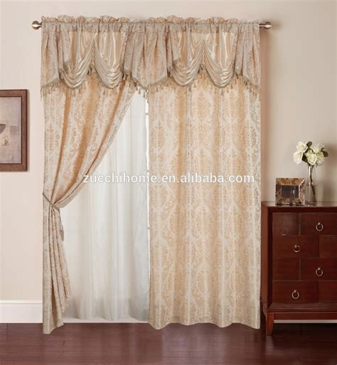 100 polyester curtains 100 polyester fabric jacquard curtain in luxury valance