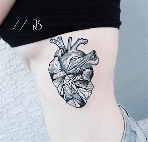 geometric heart tattoo geometric s side best ideas