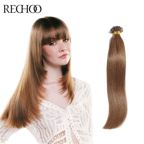 hair extension i tip indian remy hair aliexpress com buy rechoo fusion hair extensions