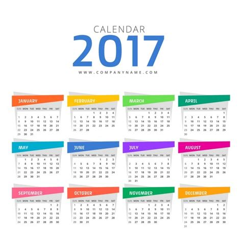 color calendar calendar with different colors vector free