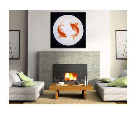 original home decor koi fish painting silver black chinese zen wall art style