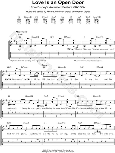 Is An Open Door Chords by Quot Is An Open Door Quot From Frozen Guitar Tab In G Major