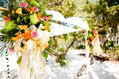 tropical wedding reception decor with a theme and