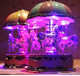 2017 led toys merry go round music box with led light best