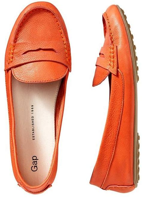 gap womens loafers gap leather loafers in orange orange county lyst