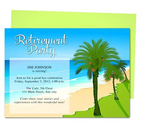 tropical oasis retirement party invitation templates use