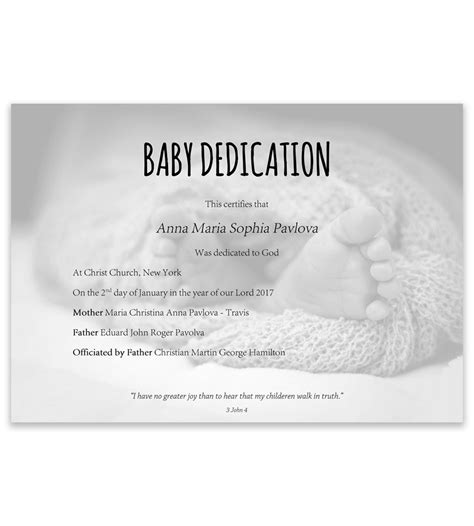 baby christening certificate template baby dedication certificate template for word free printable