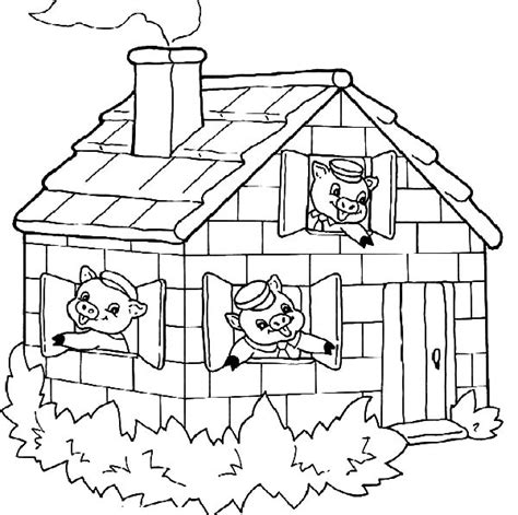 Three Pigs Houses Coloring Pages the house of three pigs coloring pages batch coloring