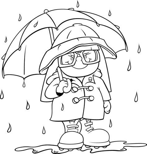 coloring pages with rain rain gear coloring page weather and seasons activities