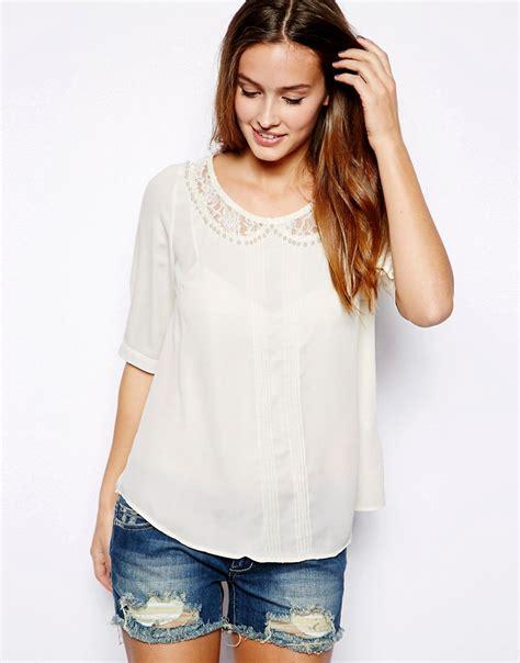 mina blouse mina mina blouse with lace collar at asos
