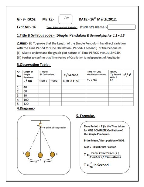 Pendulum Lab Report by Physics Gr 9 Igcse Sle Lab Report
