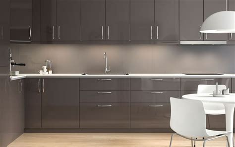 High Gloss Grey Kitchen Cabinets Modern High Gloss Grey Ikea Kitchen With Light Worktops And Integrated Appliances