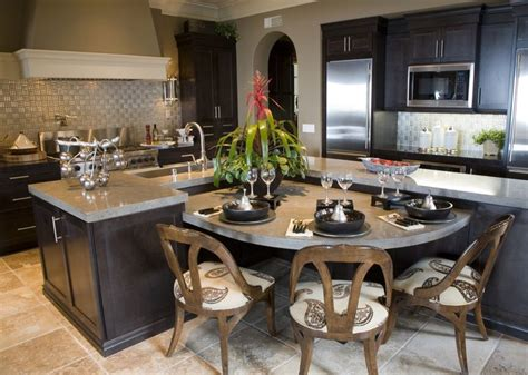 eat in kitchen design with dining island hate those 39 fabulous eat in custom kitchen designs dark wood