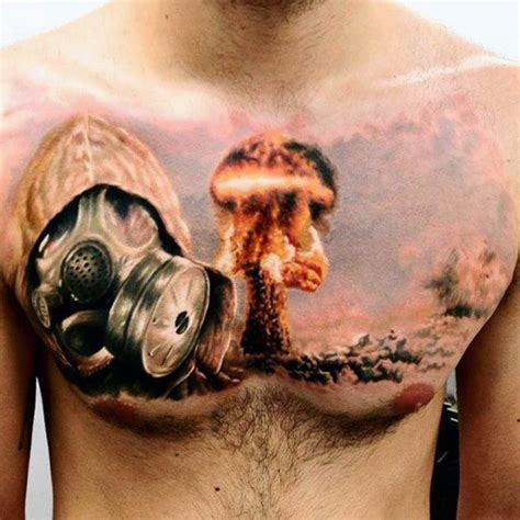 atomic bomb tattoo designs 70 cool chest tattoos for masculine ink design ideas