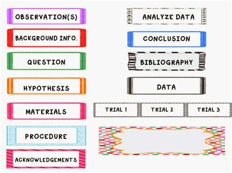 science fair labels templates mock mini science fair board to teach the scientific