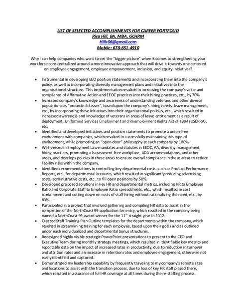 Resume Selected Accomplishments List Of Selected Accomplishments For Career Portfolio