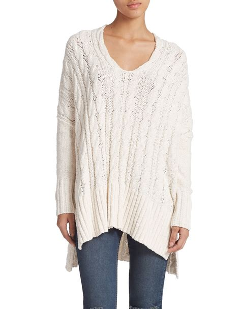 oversized cable knit sweaters free oversized cable knit sweater in white lyst