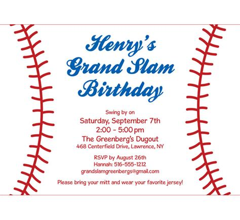 baseball themed invitation template sports