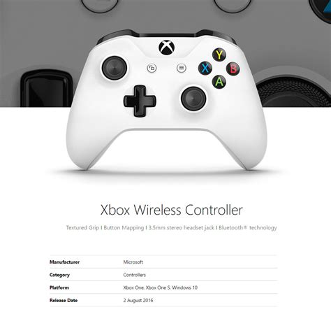 Microsoft Xbox One Controller For Windows microsoft xbox one wireless controller for windows white