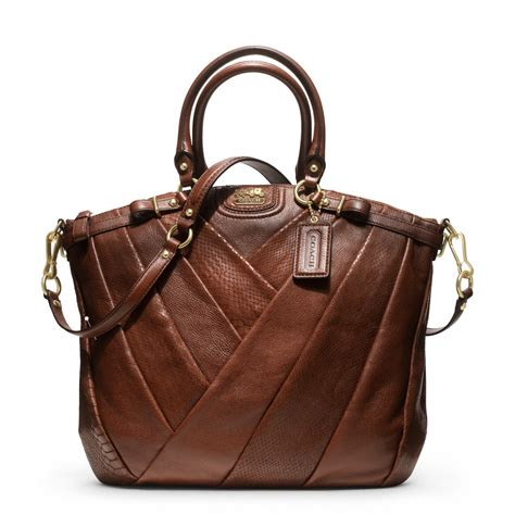 couch handbag coach new madison diagonal pleated exotic lindsey satchel