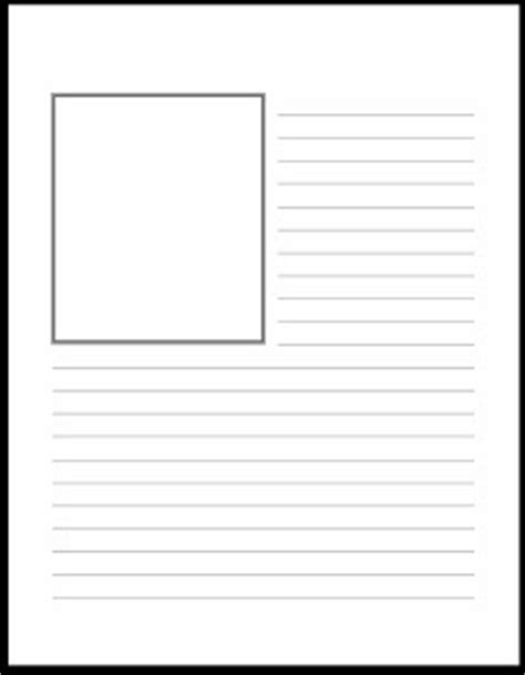 free printable lined paper with picture box homeschool days printables