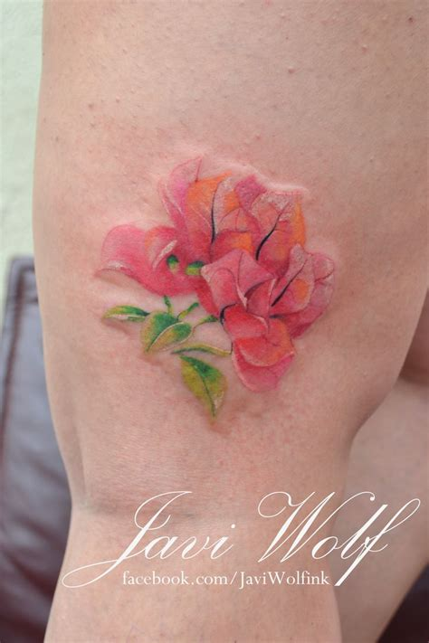 watercolor unique tattoo watercolor bougainvillea tattooed by javi wolf