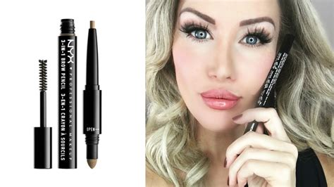 Eyeliner N Eyebrow 2in1 new nyx cosmetics 3 in 1 brow pencil review demo risa