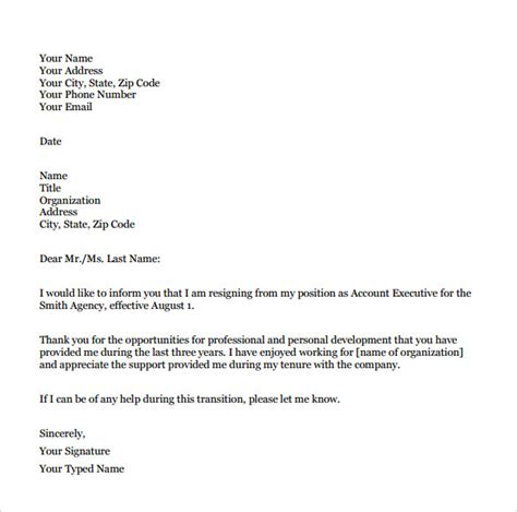 formal letter layout download sle resignation letter format 9 download free