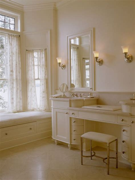 vanity stool for traditional bathroom and mirror with