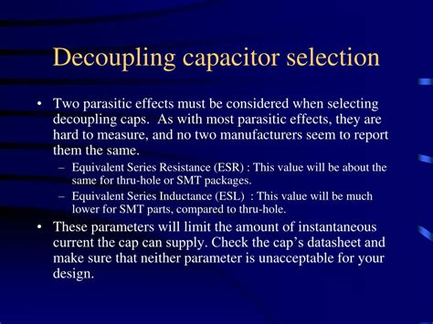 decoupling capacitor selection ppt pcb design layout tips powerpoint presentation id 219082