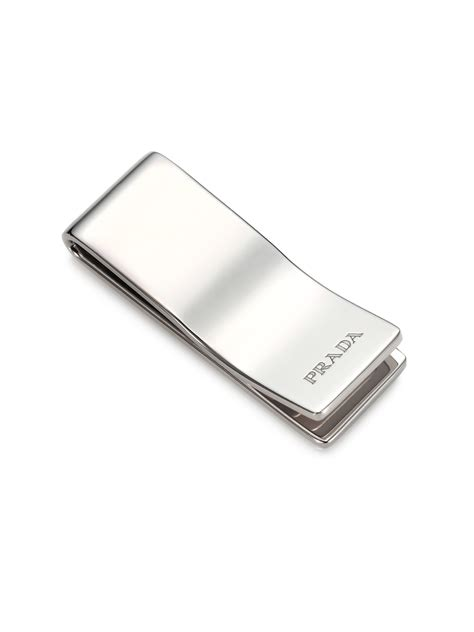 clip for lyst prada sterling silver money clip in metallic for