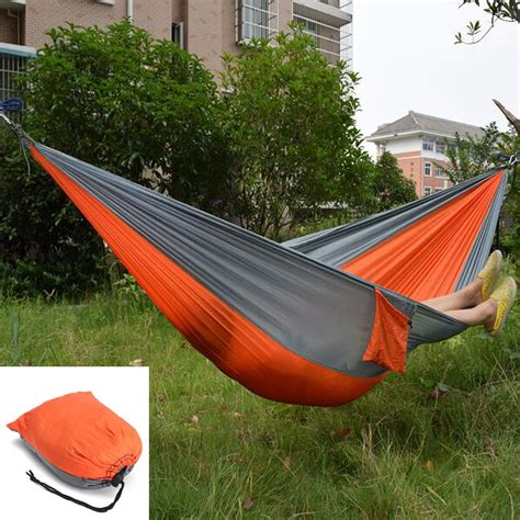 Hammock 2p Orange 1 outdoor garden portable hammock two person swing bed for cing hiking travel