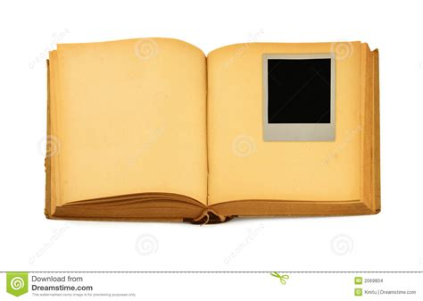 book picture frames book with empty photo frame inside stock images