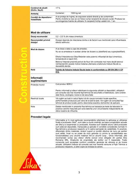 Seika Retarder fisa tehnica intarzietor de priza sika 174 retarder sika aditivi pentru beton sika romania 171 fisa