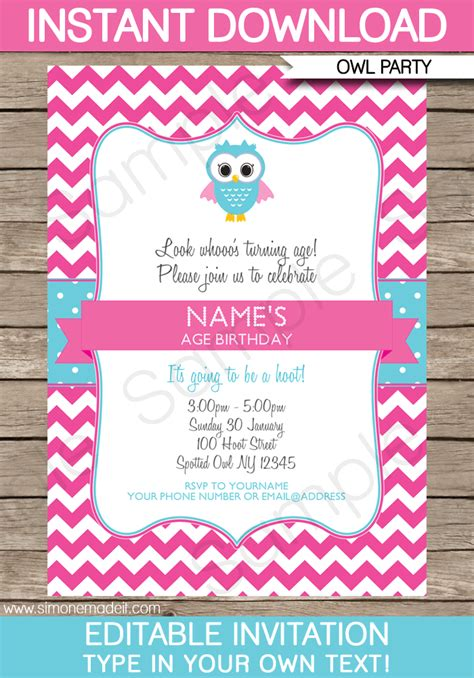 Owl Party Invitations Pink Birthday Party Template Birthday Invitation Editable Templates
